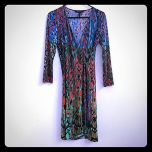 BCBGMaxAzria multi-color neon wrap dress, size S.